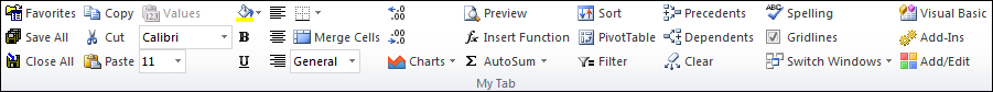 custom Excel ribbon tab