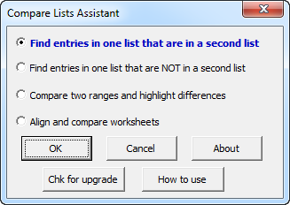 compare lists in Microsoft Excel