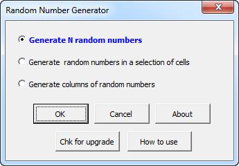 Random Number Generator for Microsoft Excel