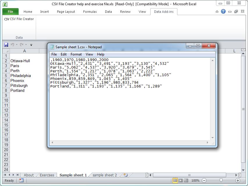 CSV File Creator for Microsoft Excel