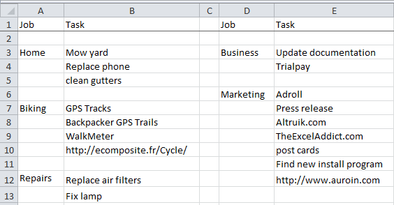 to do lists in excel