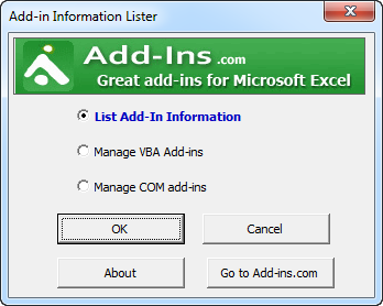 Click to view Addin Information Lister for Excel screenshots