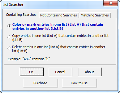 List Searcher main dialog of options to search worksheet lists
